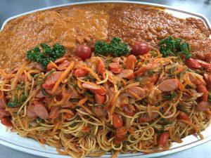 中学生学習塾卒業パーティーオードブルミートソーススパゲティー